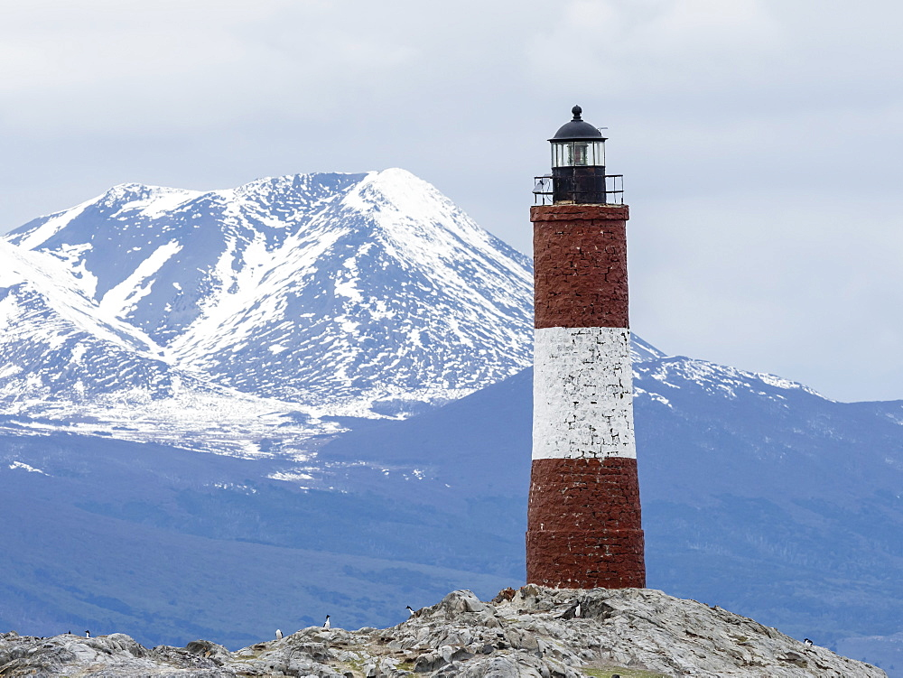 Lighthouse with Andes Mountains in the background on a small islet in the Beagle Channel, Ushuaia, Argentina, South America - 1112-4066