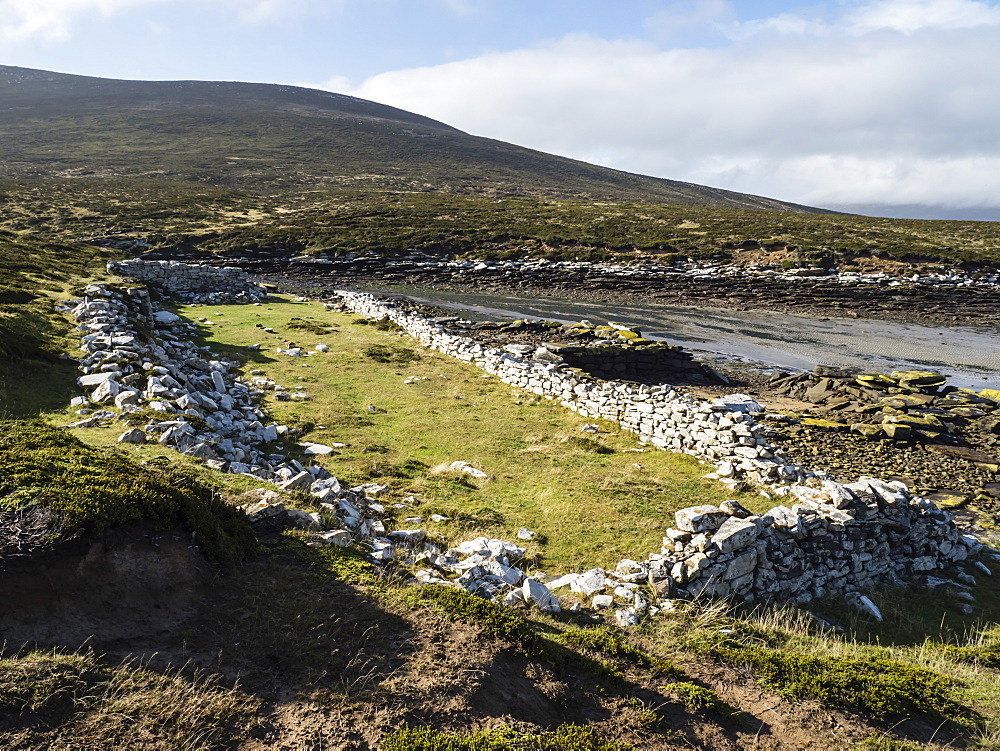 The remains of the British Garrison established at Port Egmont in 1765 on Saunders Island, Falkland Islands. - 1112-4098