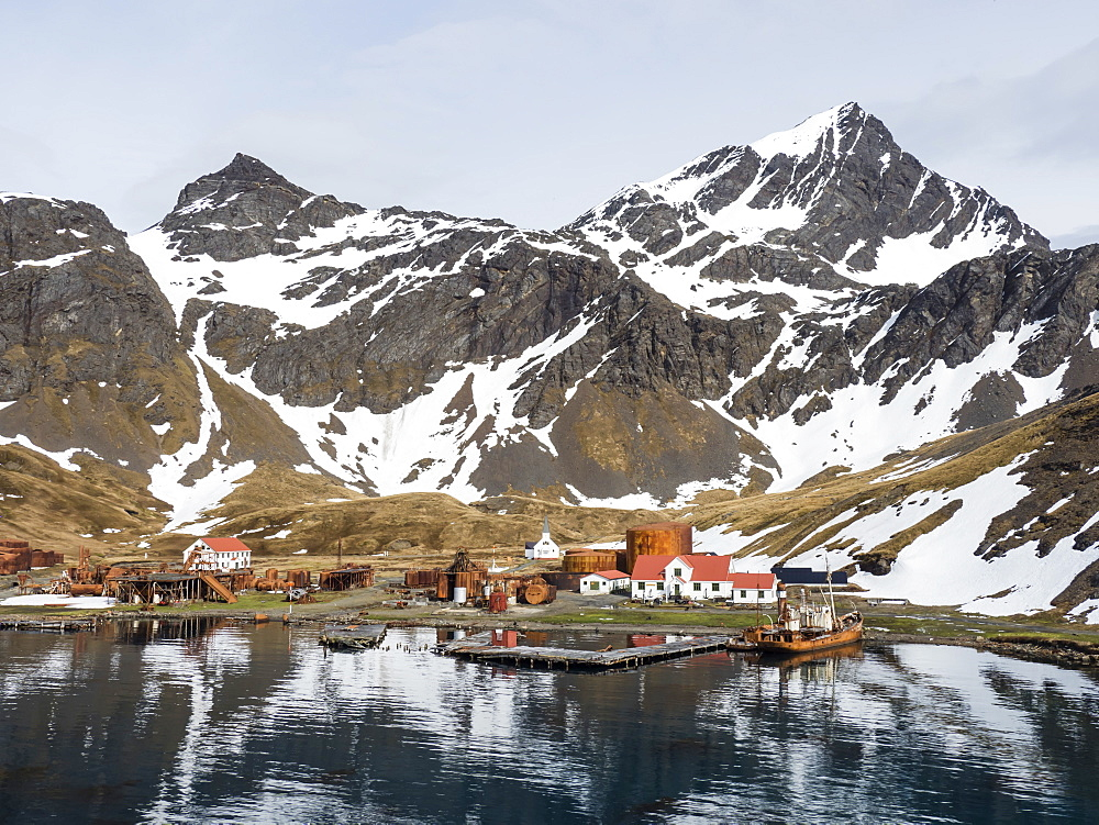 The abandoned whaling station at Grytviken, now cleaned and refurbished for tourism on South Georgia Island, Atlantic Ocean - 1112-4099
