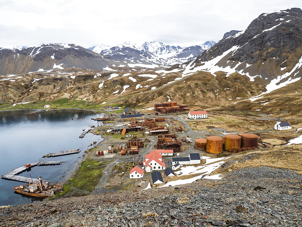 The abandoned whaling station at Grytviken, now cleaned and refurbished for tourism on South Georgia Island. - 1112-4100