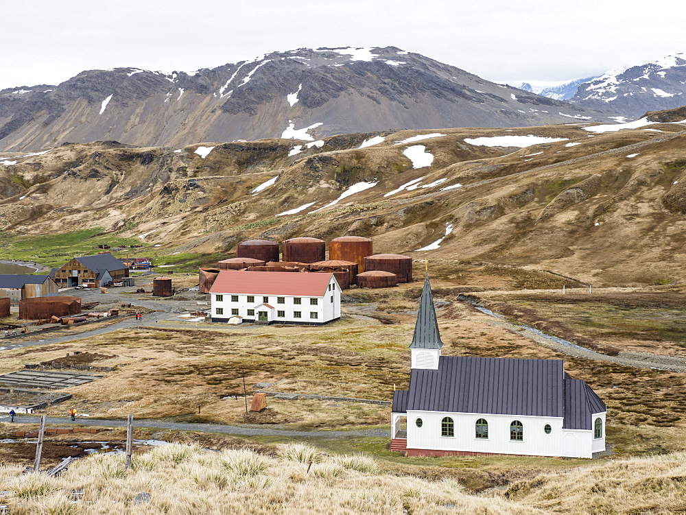 The Whaler's Lutheran church at the old Norwegian whaling station at Grytviken, South Georgia Island. - 1112-4106