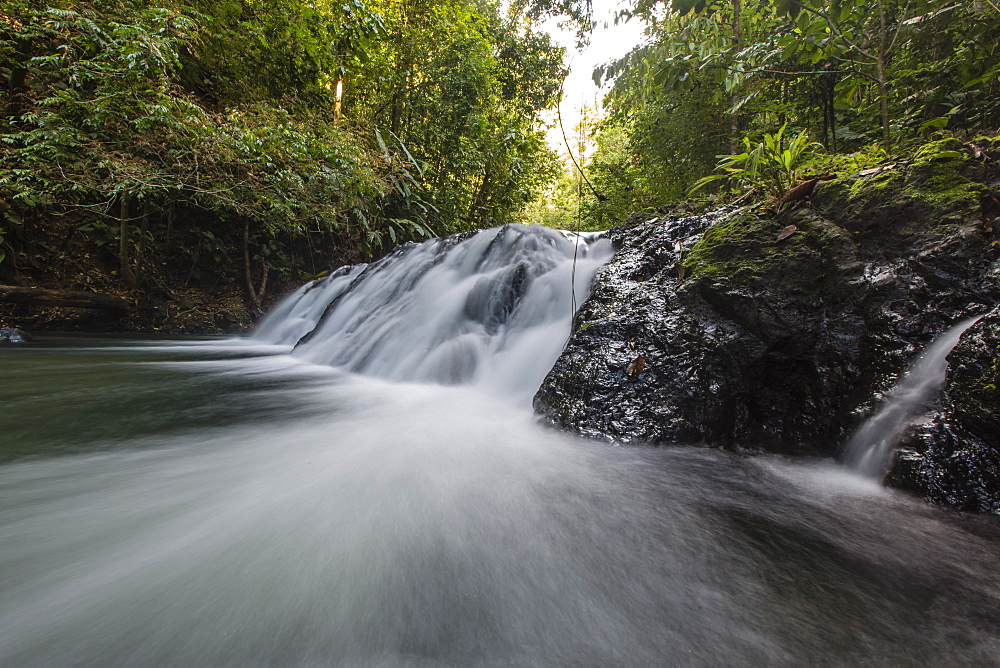 Slow motion blur of waterfall in Corcovado National Park, Osa Peninsula, Costa Rica, Central America