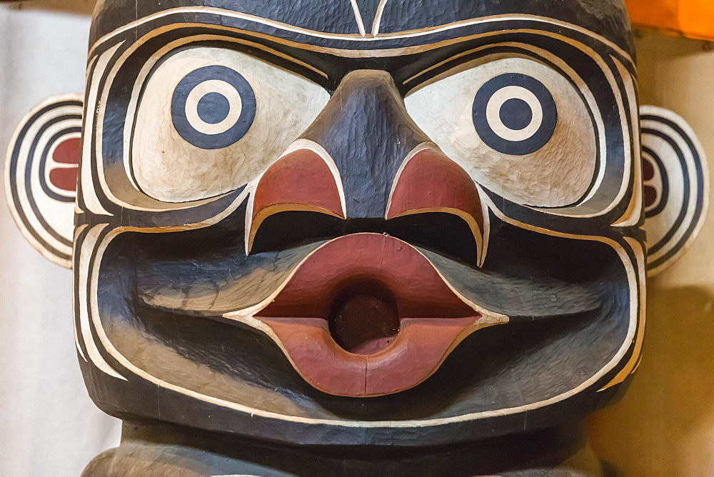 Totem pole in the longhouse of the Kwakwaka'wakw people, Alert Bay, British Columbia, Canada, North America