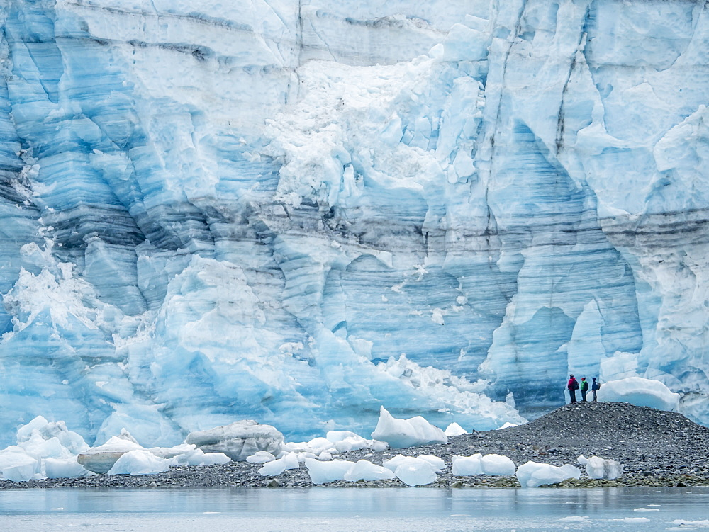 Hikers in front of Lamplugh Glacier, Glacier Bay National Park and Preserve, UNESCO World Heritage Site, Alaska, United States of America, North America