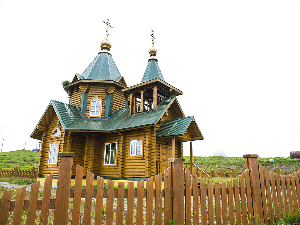 Exterior view of the Russian Orthodox Church in Nikolskoye Village, Commander Islands, Kamchatka, Russia, Eurasia
