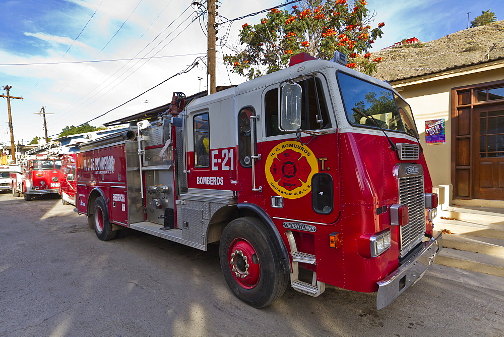 Fire truck, Santa Rosalia, Gulf of California (Sea of Cortez), Baja California Sur, Mexico, North America