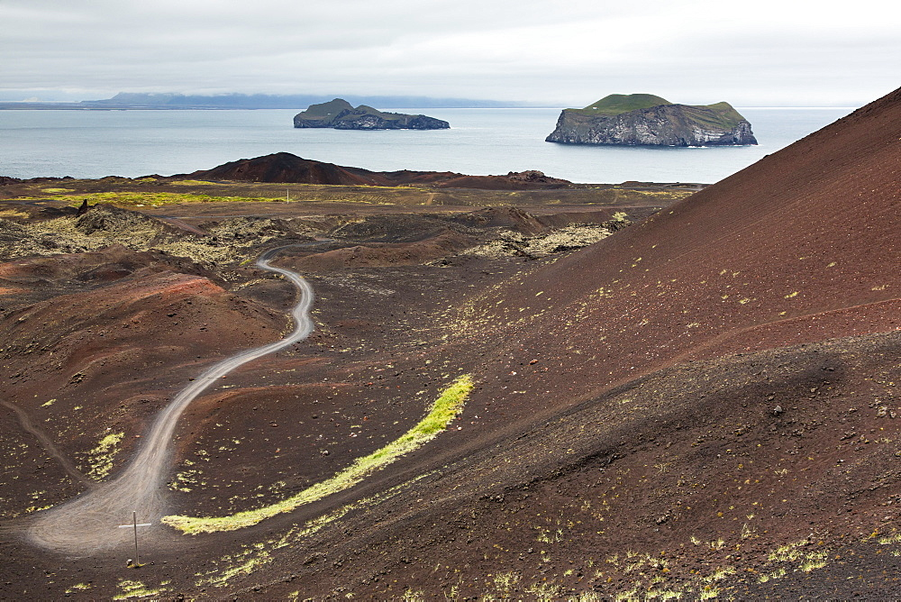 Overlooking recent lava flow on Heimaey Island, Iceland, Polar Regions