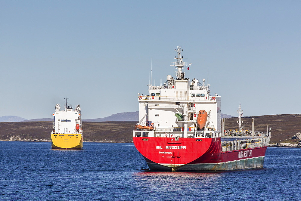 Commercial container ship in the port of Stanley, East Falkland Island, South Atlantic Ocean, South America