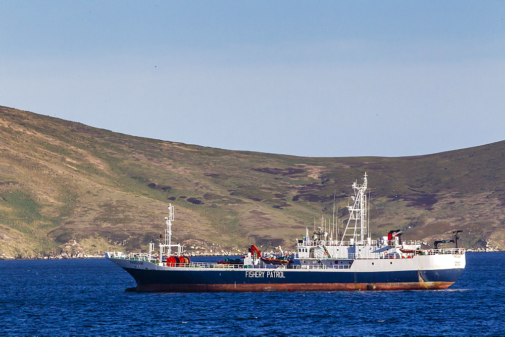 Fishery Patrol ship in the port of Stanley, East Falkland Island, South Atlantic Ocean, South America