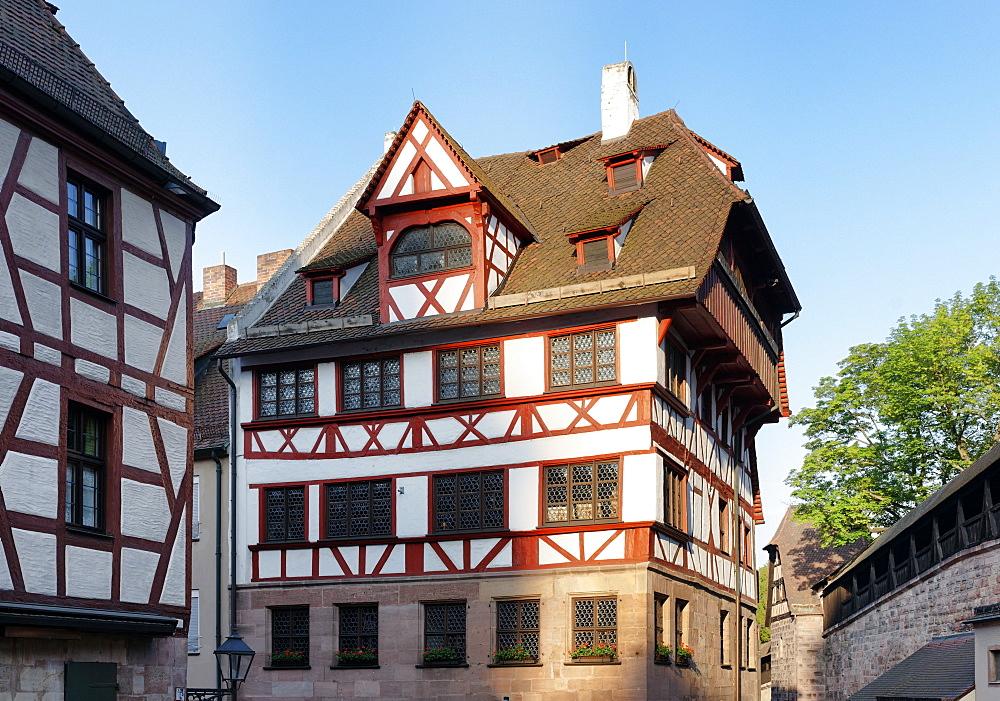 Albrecht Duerer House, Place of work and life of the artist Albrecht Duerer 1471-1528, Tiergaertnertorplatz Square, Nuremberg, Middle Franconia, Bavaria, Germany