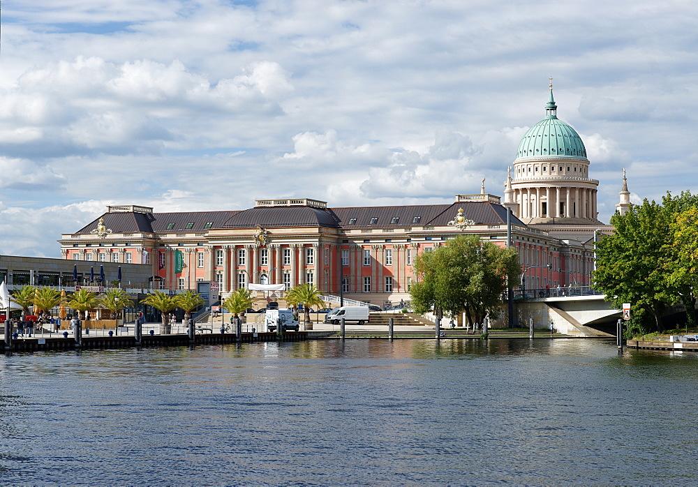 Pier of the Weisse Flotte ship company, Havel, Potsdam City Palace and Church of St. Nicholas, Potsdam, Brandenburg, Germany