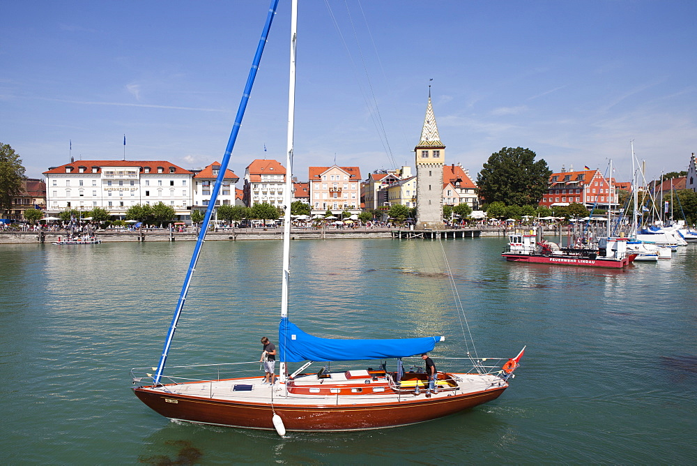 Mang tower in Lindau harbour, Lindau, Lake Constance, Swabian, Bavaria, Germany, Europe