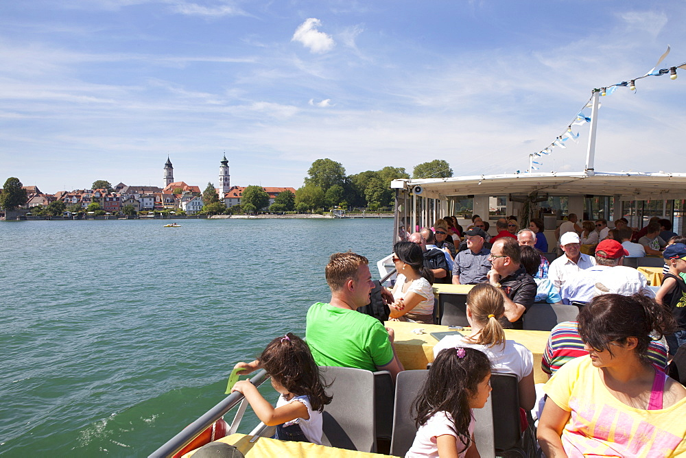 Sightseeing boat in front of Lindau, Lake Constance, Swabian, Bavaria, Germany, Europe