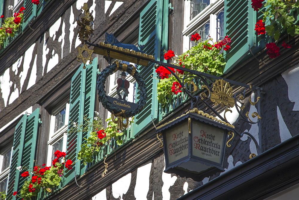 Sign of Schlenkerla brewery and restaurant, Bamberg, Franconia, Bavaria, Germany