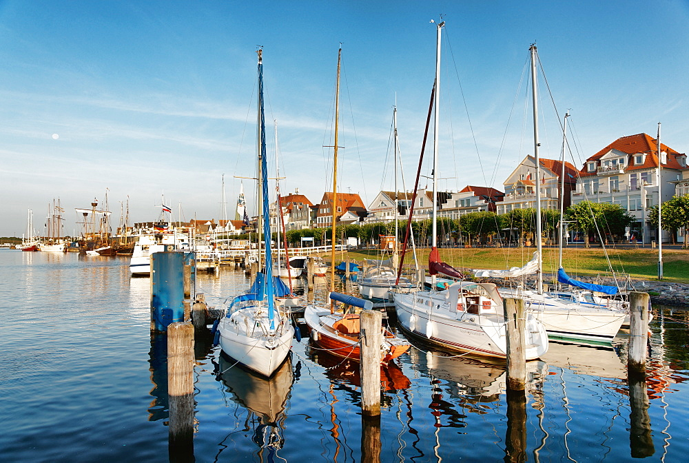 Port in Travemuende in the morning, Luebeck, Schleswig-Holstein, Germany