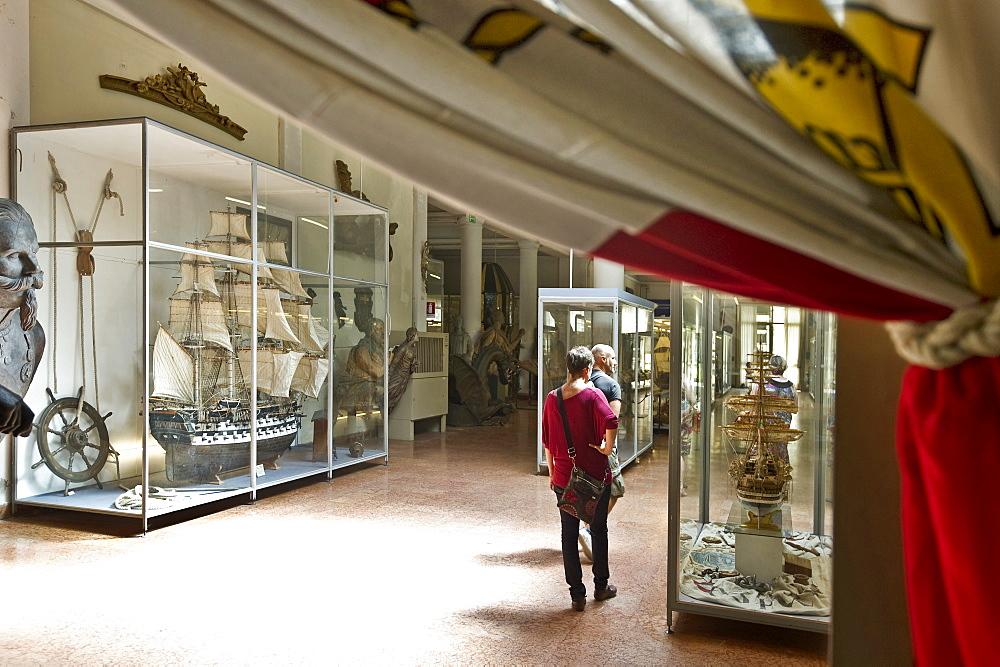 People visiting Museo tecnico navale maritime museum, La Spezia, Liguria, Italia