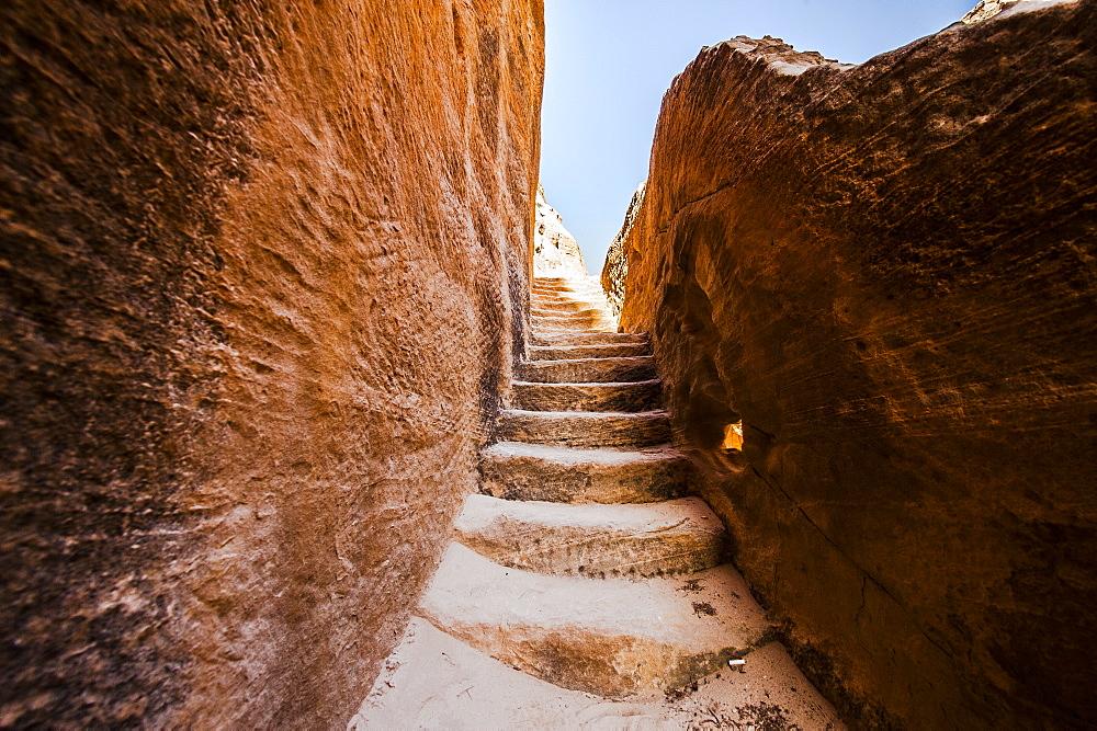 Stone steps, Siq el-Barid, Little Petra, Wadi Musa, Jordan, Middle East
