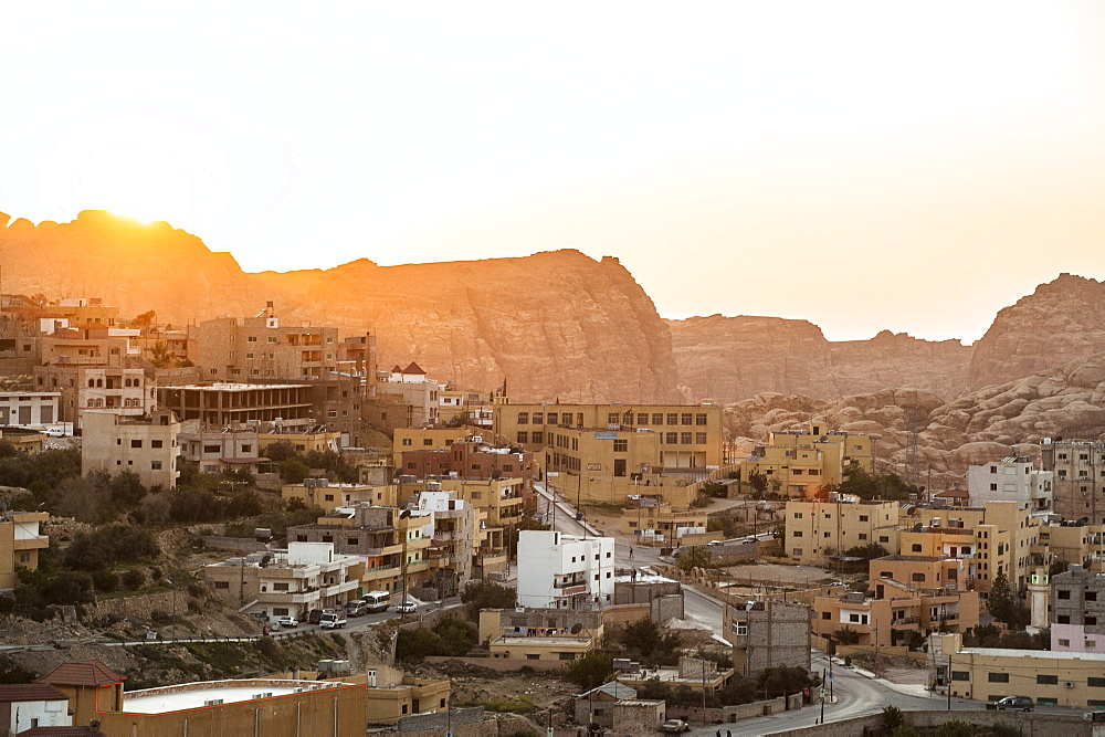 View over Wadi Musa to Petra in sunset, Jordan, Middle East