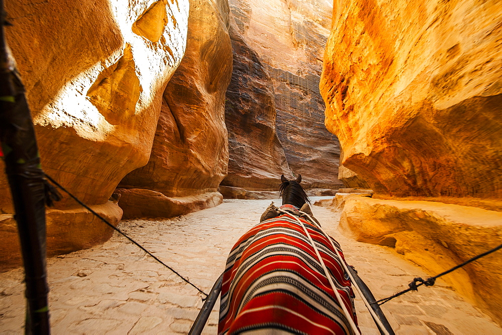 Horse-drawn carriage passing the Siq, Petra, Jordan, Middle East