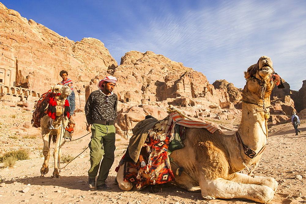 Two men with dromedaries, Petra, Jordan, Middle East