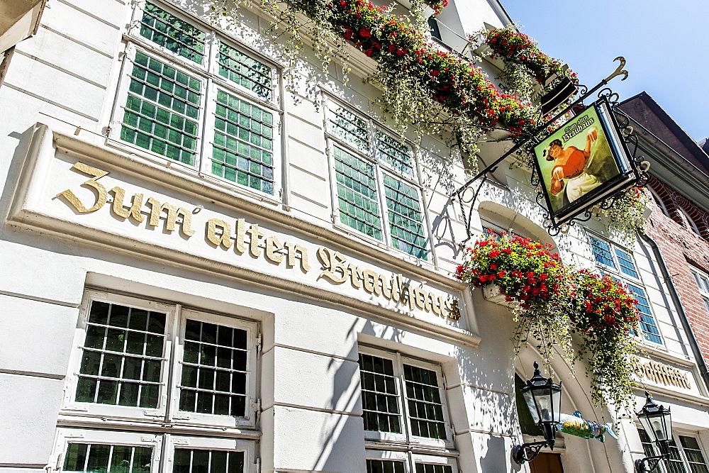Sign of a restaurant, Lueneburg, Lower Saxony, Germany