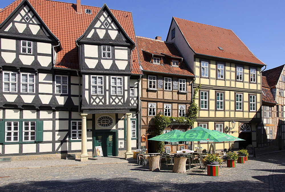 Half-timbered houses at Finkenherd, Quedlinburg, Harz, Saxony-Anhalt, Germany, Europe