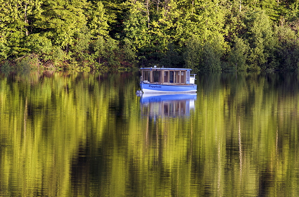 Boat on Rappbode-reservoir, Harz, Saxony-Anhalt, Germany, Europe