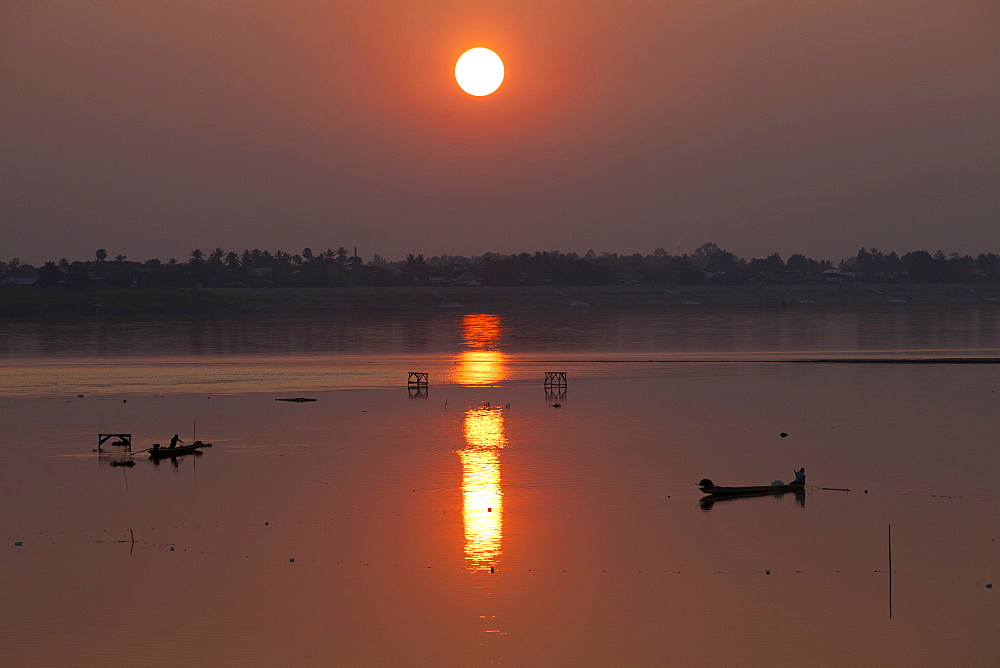 Fishing boats on the Mekong river, Vientiane, capital of Laos, Asia