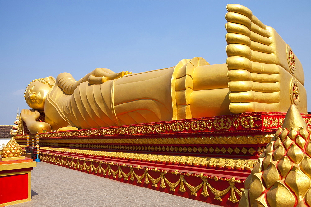 Golden Buddha at Pha That Luang Monument in Vientiane, capital of Laos, Asia - 1113-100906