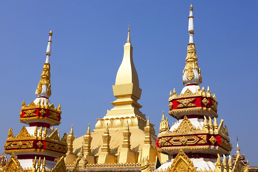 Buddhistic Stupas of Pha That Luang Monument in Vientiane, capital of Laos, Asia