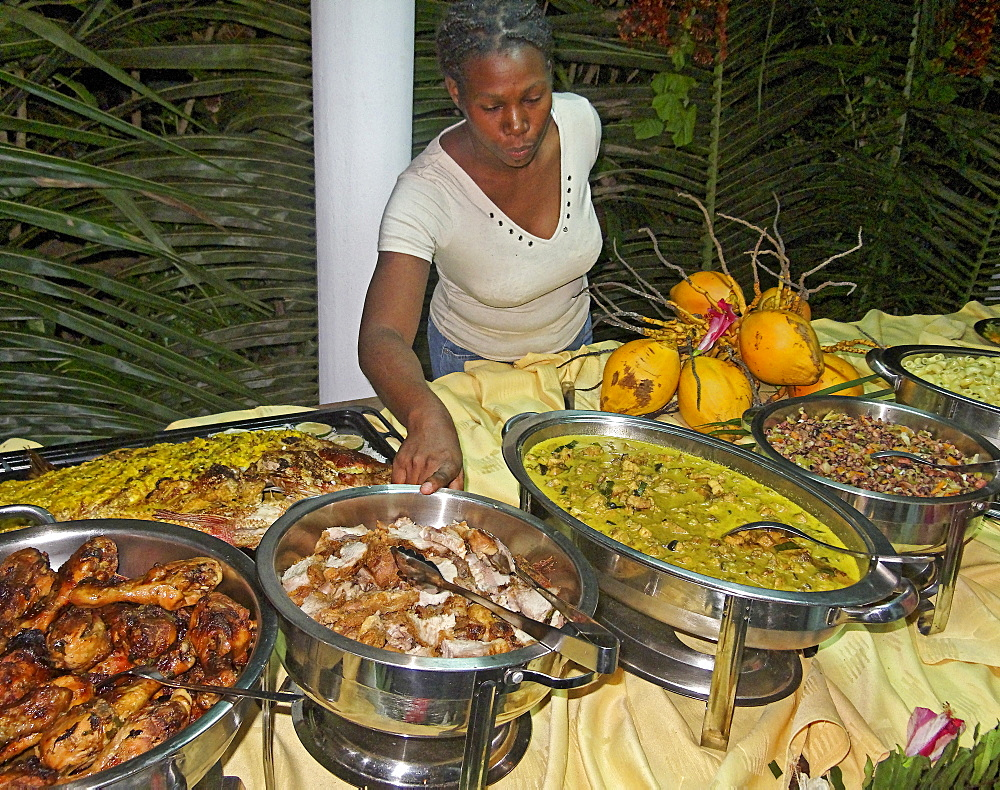 Buffet of local food specialities, La Digue, Seychelles, Indian Ocean - 1113-101085