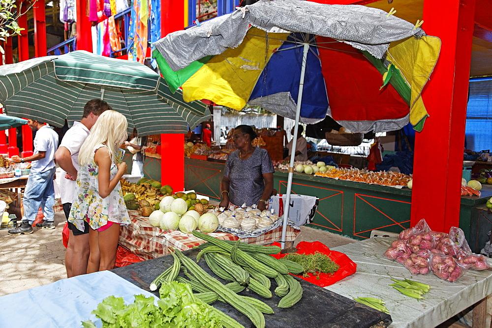 Market stall, Victoria Market, Mahe Island, Seychelles, Indian Ocean