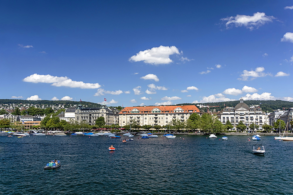 Lake Zurich, Promenade with old houses and villas, Zurich, Canton Zurich, Switzerland