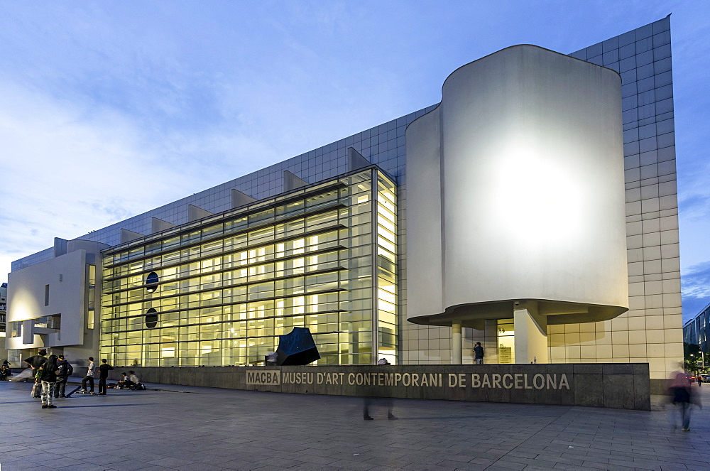 MACBA in the evening light, Museum of Modern Art by Richard Maier, Barcelona, Catalunia, Spain