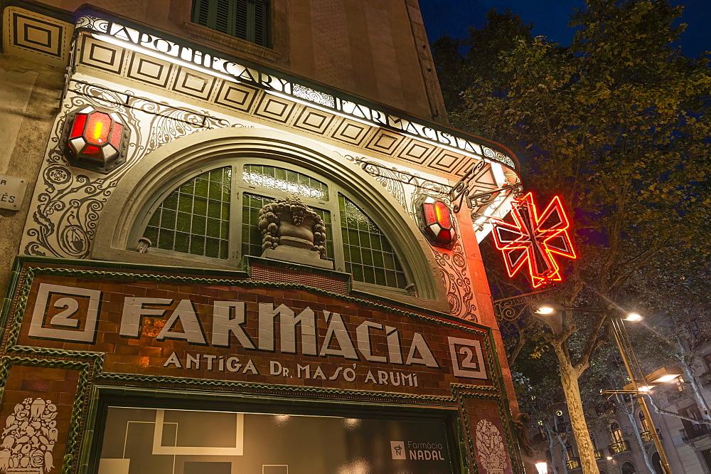 Farmacia, Art Deco, Ramblas, Barcelona, Catalonia, Spain