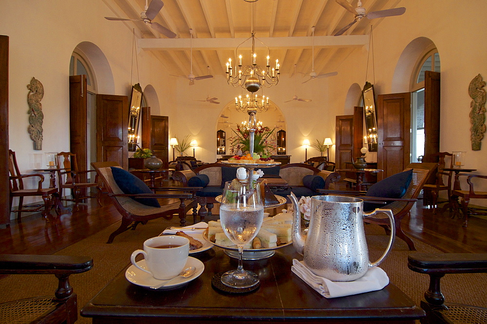 Beautiful colonial style room, High tea in the Luxury 5 Star Hotel Amangalle, Galle, Southwest coast, Sri Lanka