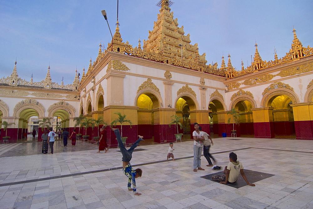Mahamuni pagoda at sunset, Mandalay, Myanmar, Burma