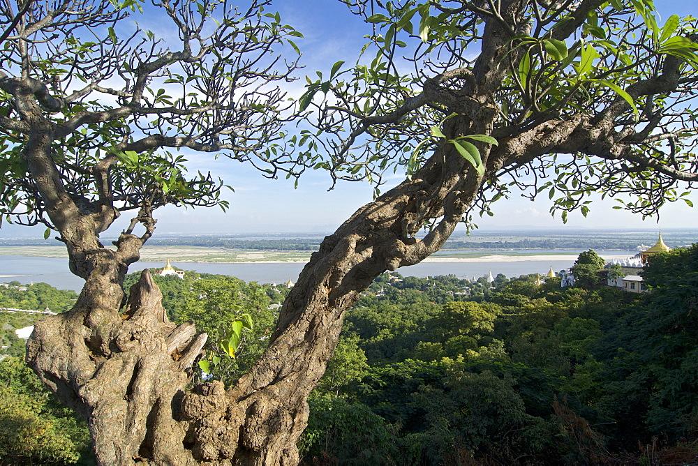 View from Sun U Ponnya Shin Pagoda, Sagaing Hill on the banks of Irrawaddy river, 20km from Mandalay, Myanmar, Burma
