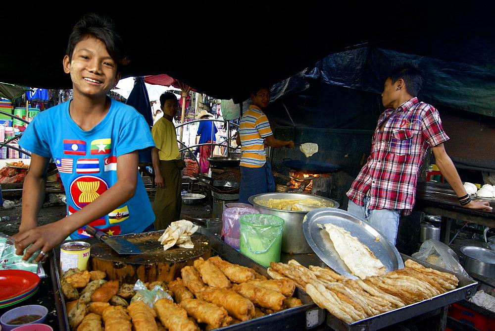 Food stalls at the market at Taunggyi, Shan State, Myanmar, Burma