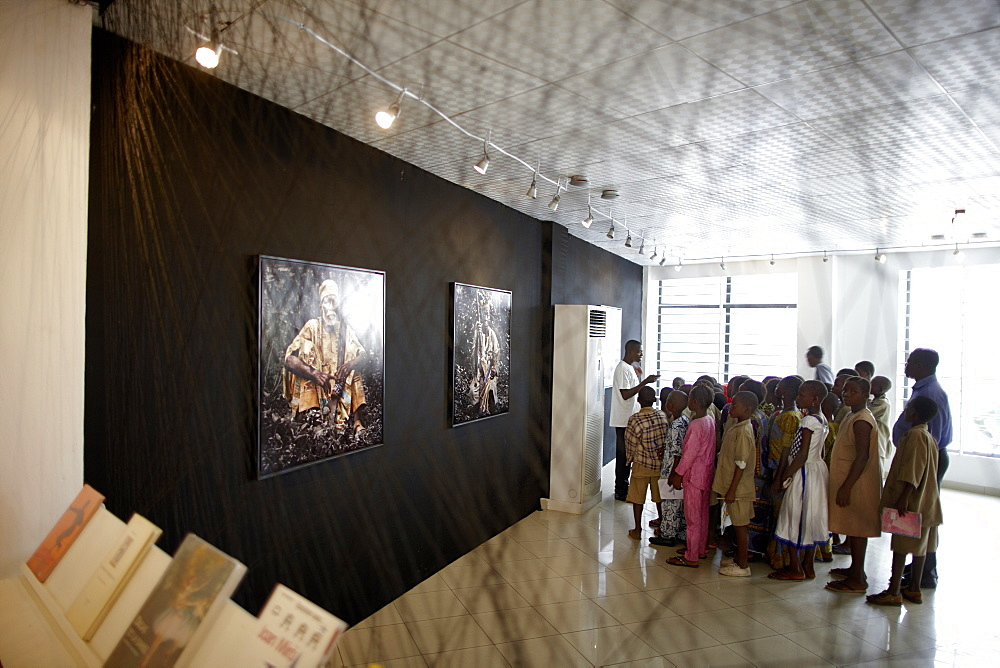 School class visiting a photo exibition, African Contemporary Art, Foundation Zinsou, Cotonou, Littoral Department, Benin