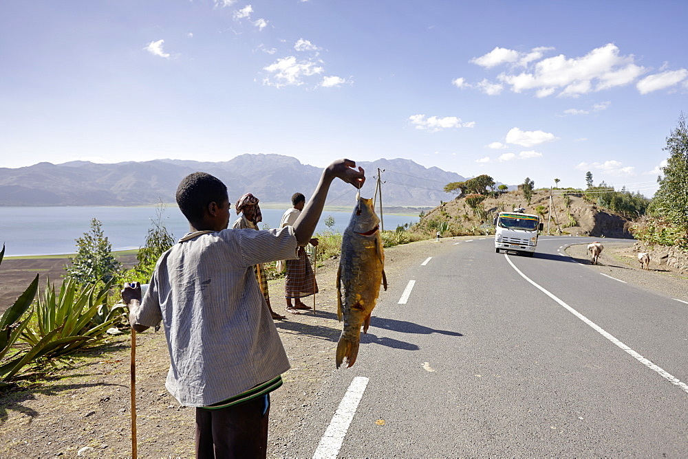 Boy selling fish at Ashange Hayk, near Maychew, Tigray region, Ethiopia