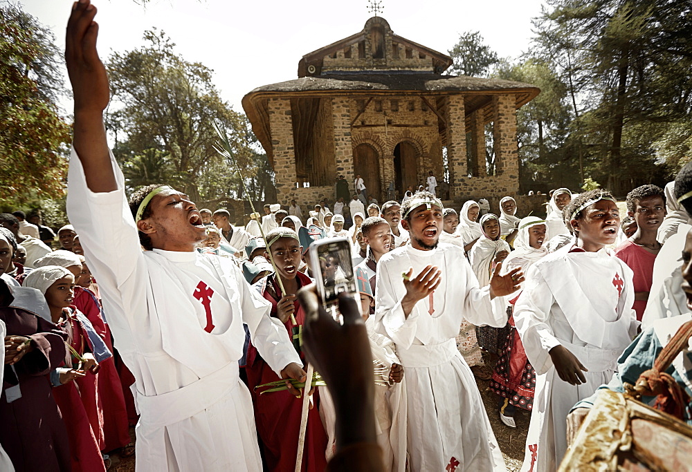 Members of convent school celebrating, Debre Berhan Selassie, Gondar, Amhara region, Ethiopia