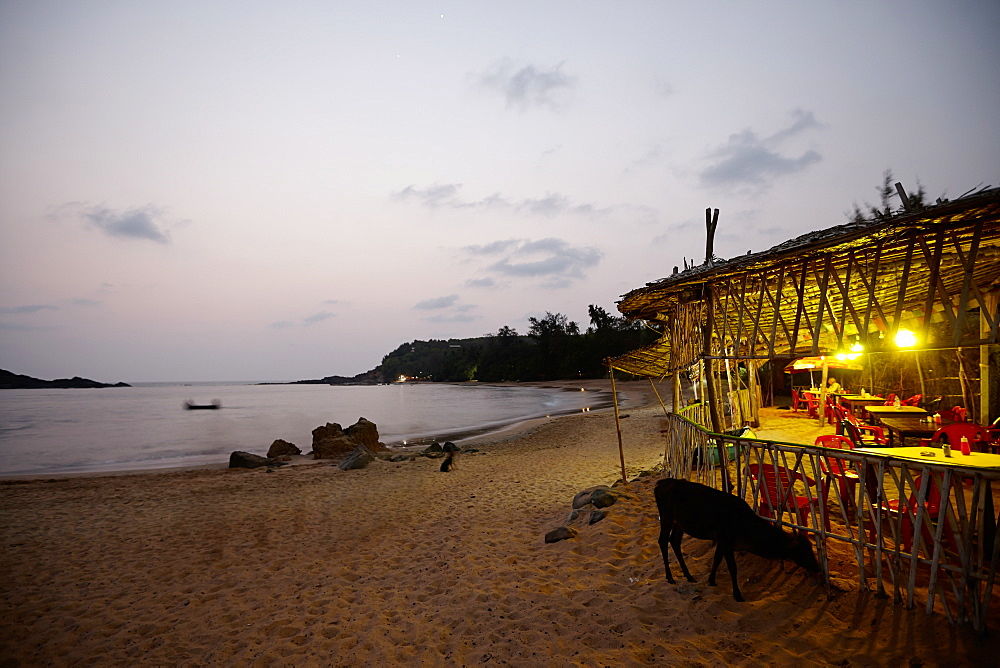 Beach bar at Om beach in the evening, Gokarna, Karnataka, India