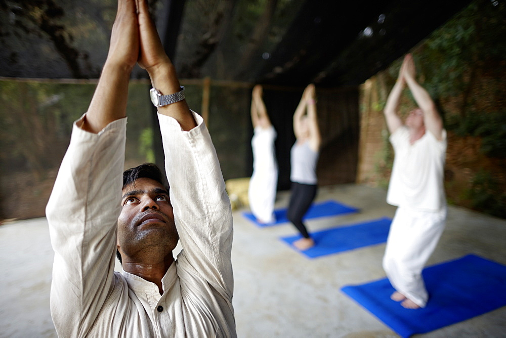 Yoga course in the morning in a hotel, Gokarna, Karnataka, India