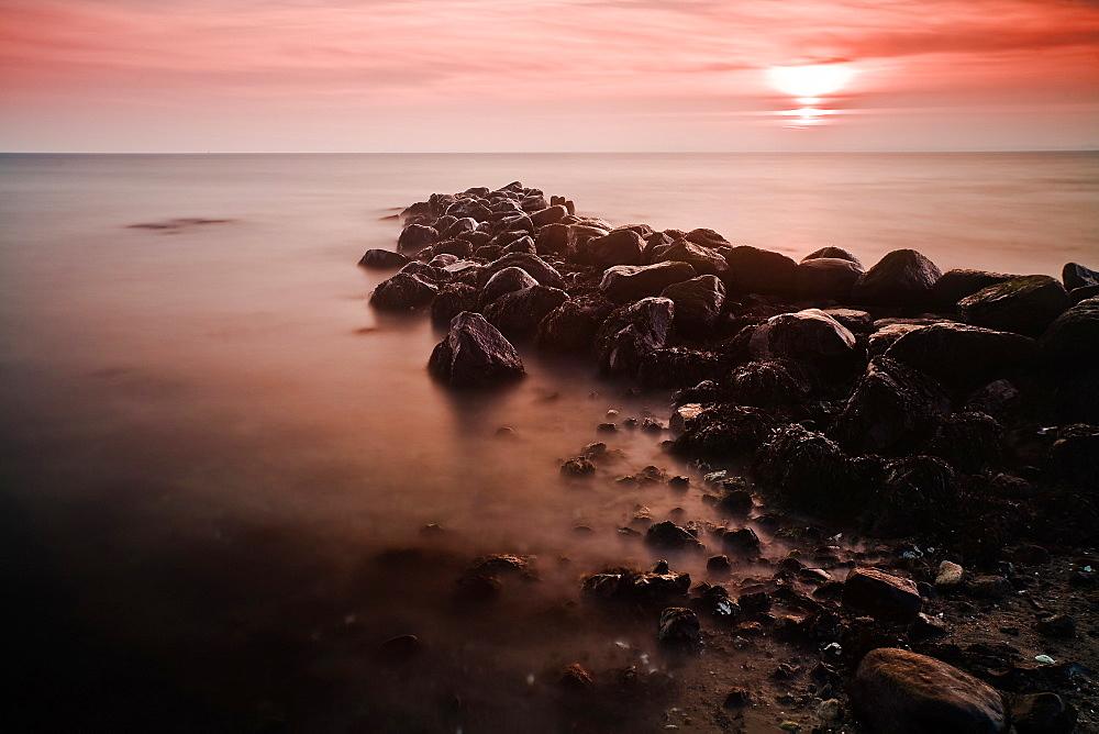 Stones in the morning light, Buelk, Strande, Kiel Fjord, Schleswig-Holstein, Germany