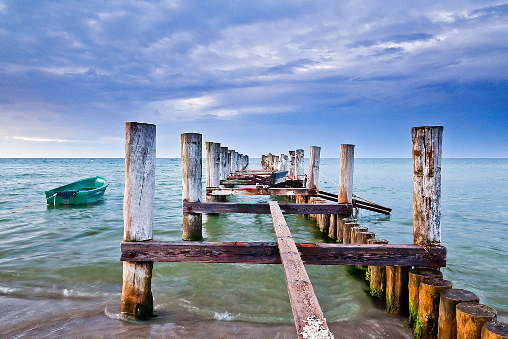 Evening on the pier, Zingst, Darss, Baltic Sea, Mecklenburg-Vorpommern, Germany