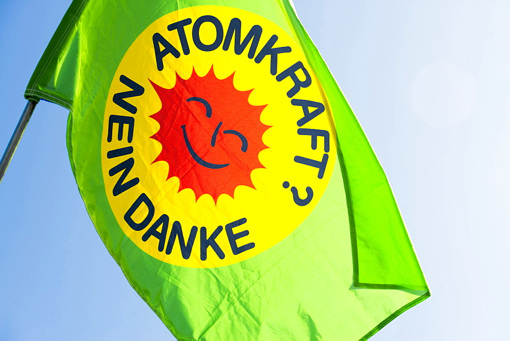 Demonstration against nuclear power in front of the atomic power plant Fessenheim, Fessenheim, Alsace, France
