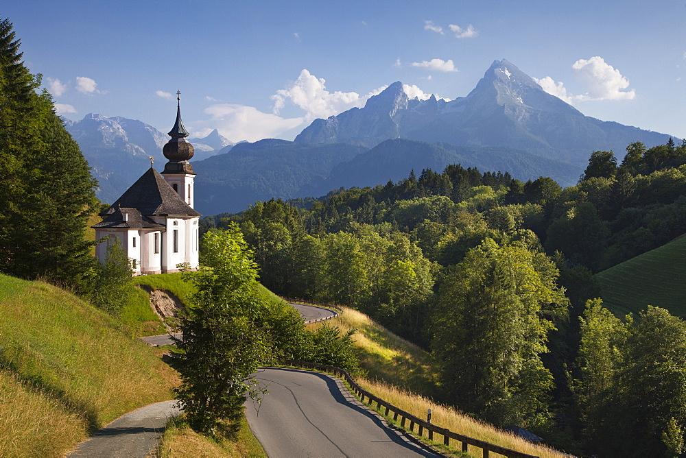 Maria Gern pilgrimage church, view to Watzmann, Berchtesgaden region, Berchtesgaden National Park, Upper Bavaria, Germany