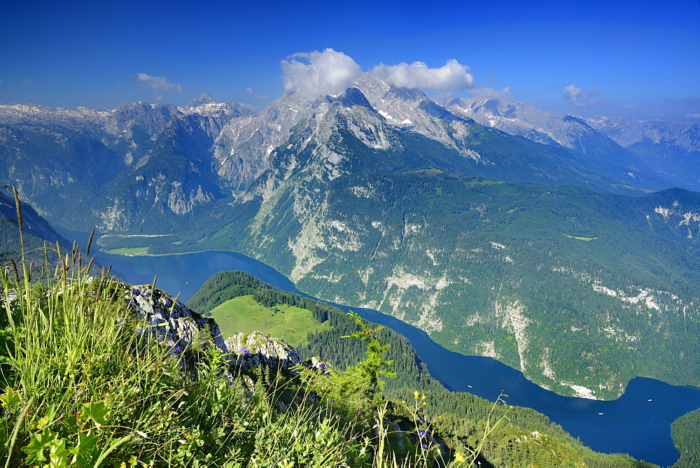 View from Jenner to lake Koenigssee, Steinernes Meer range and Watzmann, Jenner, Berchtesgaden range, National Park Berchtesgaden, Berchtesgaden, Upper Bavaria, Bavaria, Germany