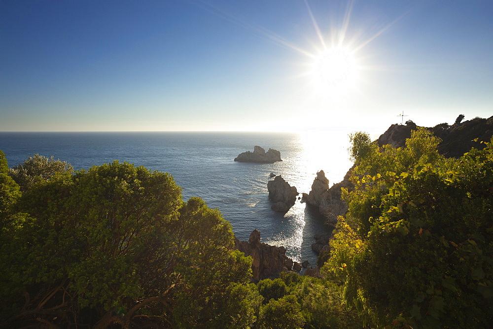 View from Panagia Theotokou monastery over the rocky cliffs of Paleokastritsa Bay, Corfu island, Ionian islands, Greece